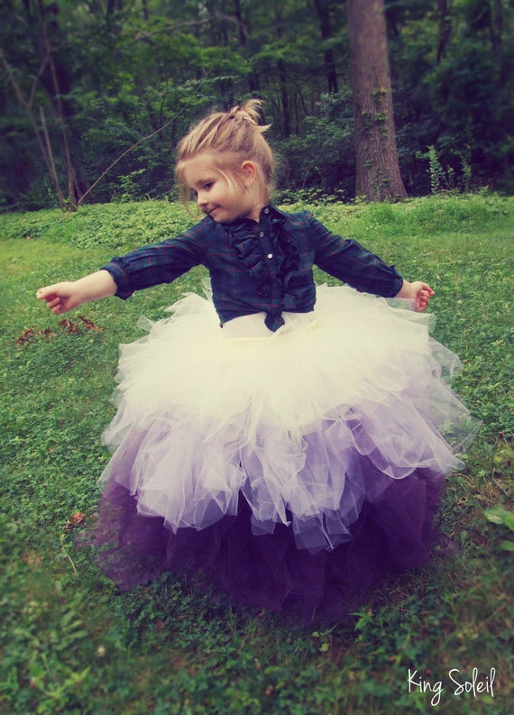 Flower Girl Tutu Skirt Ombre Purple Lavender Ivory Tulle Crochet Band Satin Bow Child Size 5 to 8