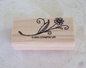 Flower on Stem with Leaves  Rubber Stamp  Stampin' UP Rubber Stamp