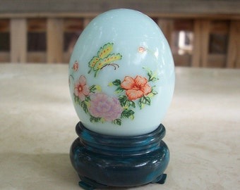 Avon Egg Shaped Glass Decanter in Robins Egg Blue with Butterflies and Flowers