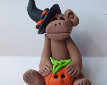Polymer clay Christmas Ornament,Halloween monkey witch with a pumpkin,Polymer Clay