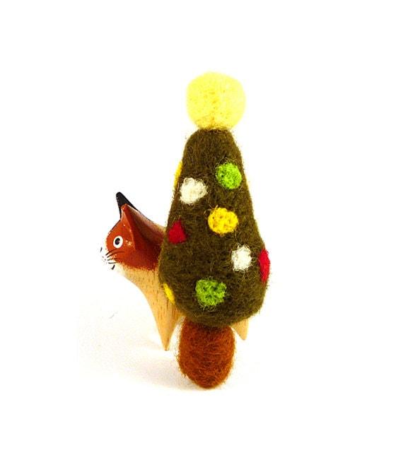 Christmas Tree Catnip Cat Toy - Needle Felted Wool