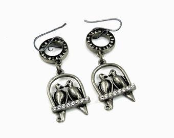 Sterling silver ear wire. Original metal stylish earrings with rhinestones . Fashion Brand Faina presents.