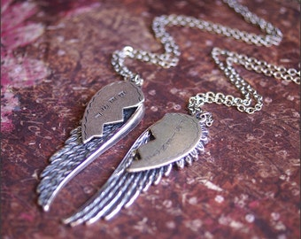 Best Friends Necklace -Friendship Jewelry-Silver ANGEL WING Necklace Set, BFF, Boyfriend, Girlfriend Necklace, Soul Sisters, Perfect Gift