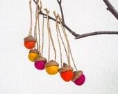 Autumn Colors Needle Felted Acorns - Aubergine Mustard Orange Eco-Friendly Waldorf Inspired house decor - set of 6 plus 1 wool acorn free