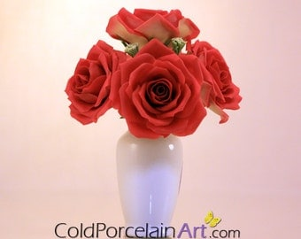 Roses Centerpiece - Cold Porcelain Art - Made to Order