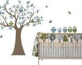 Kids tree decal- Nursery wall decals- Vinyl wall decal- Owl tree decal- 5 Free owls