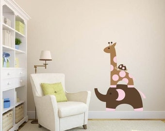 childrens removable vinyl wall decal  Elephant Giraffe and turtle great for any nursery kids room or playroom