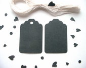 30 Black Tags. Cotton Strings Included. Your Choice - With or Without Holes.