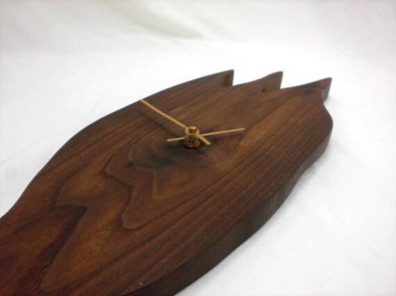 Sculptural Walnut Wall Clock - Wood Clock