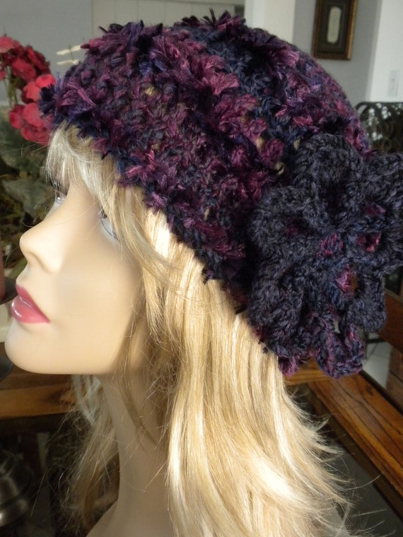 Crochet Hat Purple Plum Handmade Feathery with attached Crochet Flower