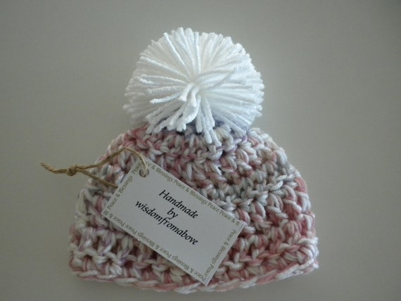Baby Hat Crochet Thick Soft Newborn Photography Prop Multi Color Pink Yellow Purple Grey White Pom Pom