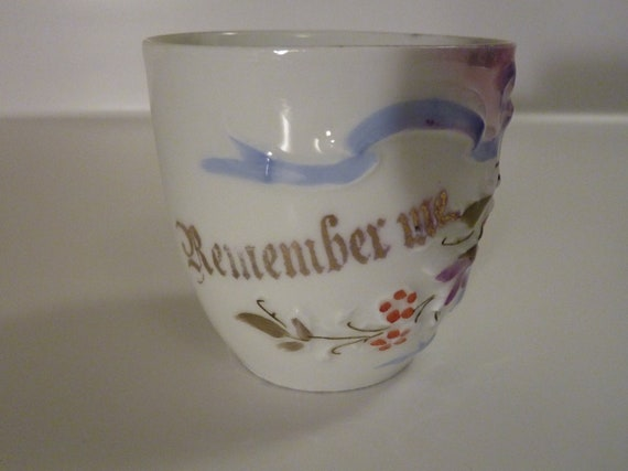 Darling Little Remember Me German Teacup with Embossed Design - Made in Germany