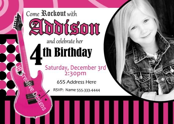 Similiar Rock Star Birthday Invitations For Girls Keywords – Rockstar Party Invites