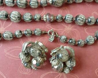 Vintage Designer Necklace Set Long Smokey Crystal Beaded Necklace Earrings Set Total Elegance Vintage Jewelry By Vintagelady7