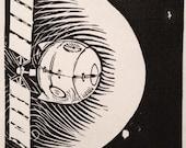 D: Retro Science Fiction Alphabet Letter, Satellite Linocut (woodcut-ish) print