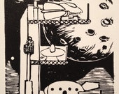 E: Retro Science Fiction Alphabet Letter, Ed's Atomic Fuel Linocut (woodcut-ish) print