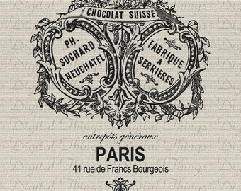 French Chocolate Paris Chocolate French Decor Wall Decor Art Printable Digital Download for Iron on Transfer Tote Pillows Tea Towels DT1002