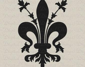 Fleur de Lis French Symbol French Decor Wall Decor Art Printable Digital Download for Iron on Transfer Fabric Pillows Tea Towel DT324