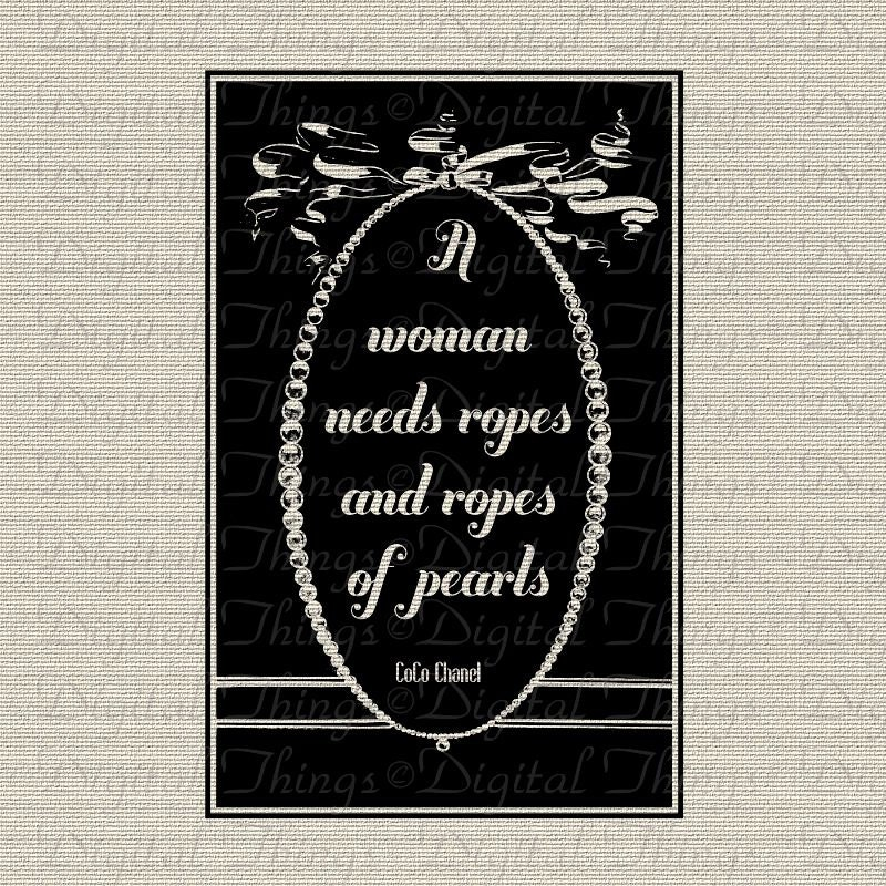 Coco chanel pearls quote typography wall decor by digitalthings - Wall decoration with pearls ...