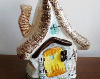Vintage 50s Ceramic Bank Figural Fixer Upper Novelty Fix the House Cottage Savings Coin Bank
