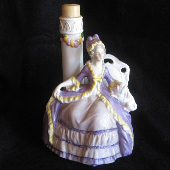 Antique Victorian German Porcelain Bisque Full Skirted Lady Figurine Boudoir Table Lamp Base