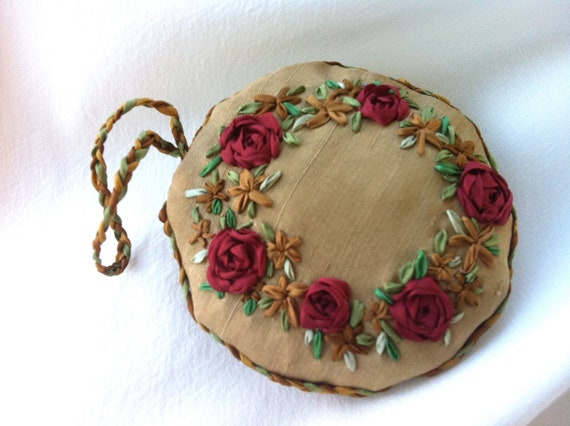 Hand Embroidered Christmas Wreath Holiday Ornament - Silk Ribbon Embroidery by BeanTown Embroidery