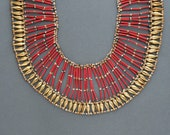 Egyptian Faience Necklace . Huge Statement Piece . Deep Red & Earthtone Ceramic Beads .