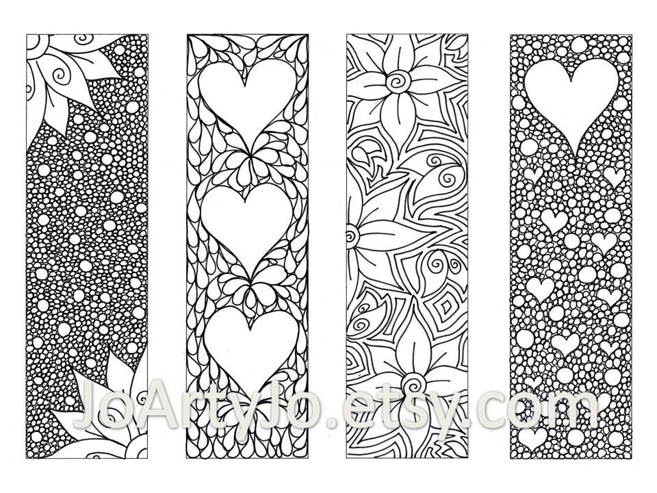 Printable Bookmarks For Colouring : Zendoodle bookmarks diy zentangle inspired hearts and