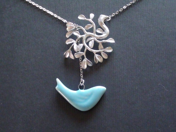 10% Off-Tree Of Life Pendant And Ceramic Blue Bird Pendant -16k White Gold Plated Lariat Necklace