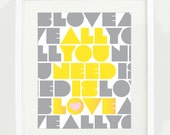 All You Need is Love 11x14 Typography Print, Beatles Song Quote, Wall Art, Home Decor, Retro Art in yellow and gray