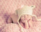 Crochet Baby Girl Lamb Sheep Hat, Photography Prop, Sizes Newborn, Infant, Toddler, and Child– Cream & Soft Pink