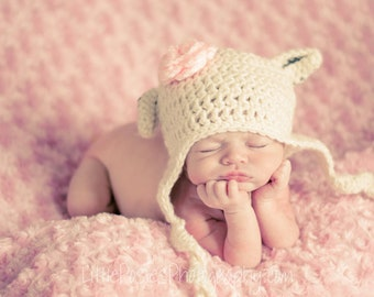 Crochet Baby Girl Lamb Sheep Hat, Photography Prop, Sizes Newborn, Infant, Toddler, and Child– Aran & Soft Pink