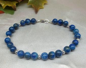 Blue Lapis Bracelet Blue Lapis Lazuli Bracelet Adjustable Bracelet Blue Lapis Strand 925 Sterling Silver Bracelet BuyAny3+Get1 Free