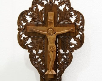 Crucifix, Jesus Christ, Cross, Art, Wood Carving, Icon, Orthodox, Christian, Religious, Wood wall art, Wood Sculpture, Handmade, MariyaArts