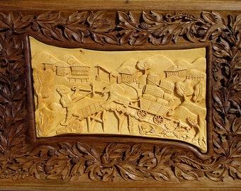 Wall Art, Wood Carving, Art  Wall Decor, rustic cabin decor, log cabin decor, wood wall hanging woodcarvings, handmade by MariyaArts