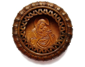 Virgin Mary and baby Jesus, Art Wood Carving, Palmette, Orthodox, Christian, Religious icon, Byzantine, wood wall art, MariyaArts