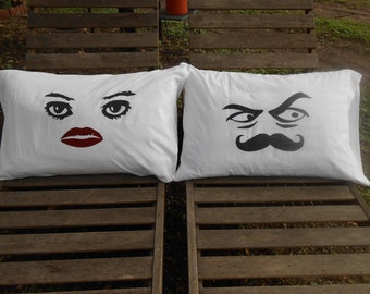 Grouch Eyes and Pretty Eyes, Hand Painted, Couples Pillowcases - Bedroom Decor