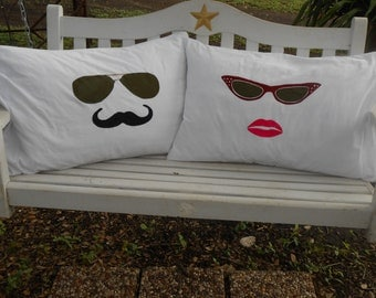 Retro His and Hers Sunglasses, Hand Painted, Standard Pillowcases for Couples