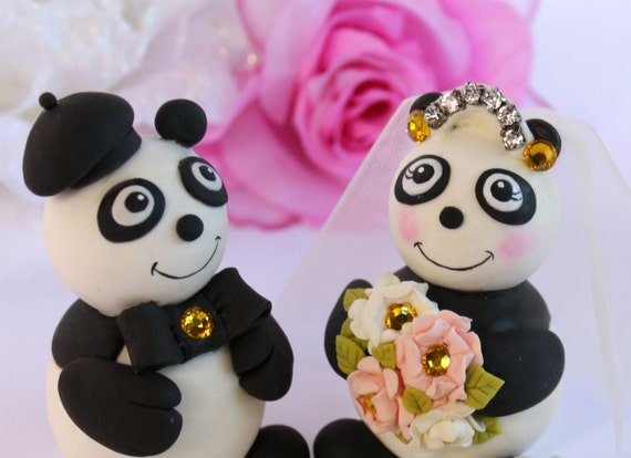 Panda wedding cake topper, bridal tiara, custom wedding cake topper with banner