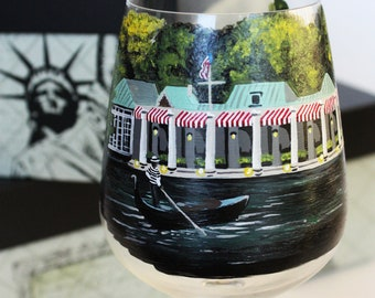 The Loeb Boathouse - Central Park, New York - NY- Hand Painted Wine Glass