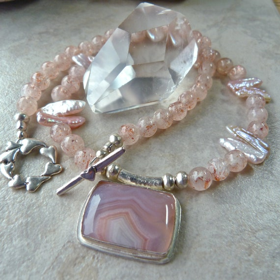 Reserved for Lindsay - Laguna Agate Pendant - Strawberry Sunstone Pink Biwi Pearl - Elegant Wedding Pink Artisan Heart Necklace Bracelet