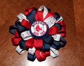 Large Boston Red Sox Flower Loopy Bow