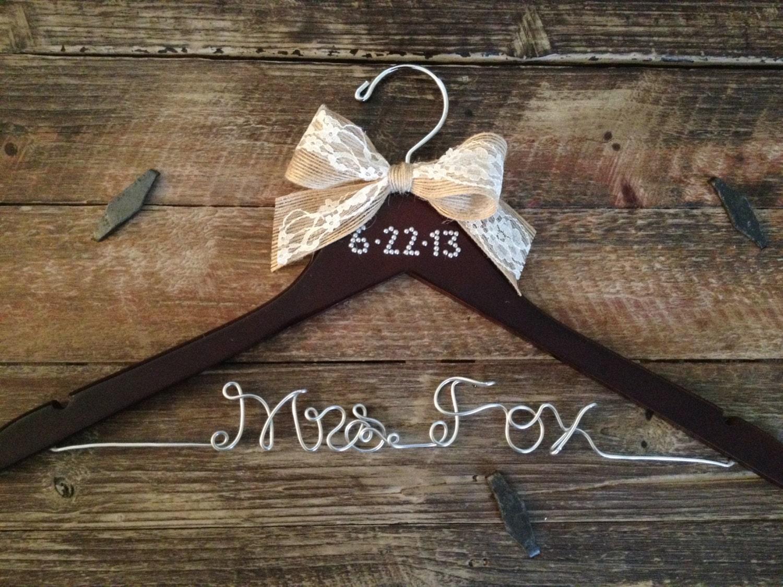 bridal hanger brides hanger vintage hanger name hanger