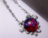 Dragon's Breath Mexican Opal Heart Necklace