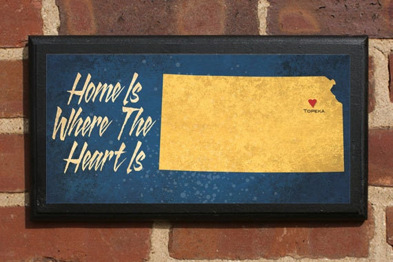 Kansas KS Home Is Where The Heart Is Wall Art Sign Plaque Gift Present Personalized Color Custom Wichita Topeka Overland Park Classic