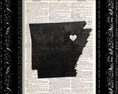 BOGO I Heart Arkansas - State Map - Map Art Print Personalized - Vintage Dictionary Print Vintage Book Print Page Art  Vintage Book Art