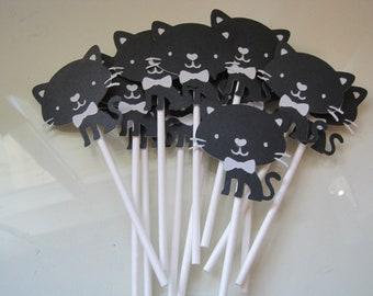 12 black cat cupcake toppers