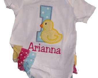 Boutique Birthday Ruffled Bodysuit with Rubber Duckie Sizes Newborn to 24M