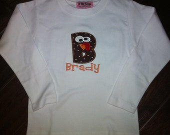 Boutique Girl or Boy Gobble Turkey letter on white Shirt.  Sizes Newborn to 14 Youth Long Sleeves or Short