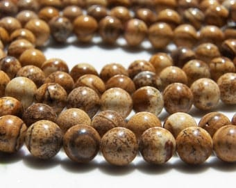 8.5mm Picture Jasper Round Polished Gemstone Beads, Half Strand (INDOC525)